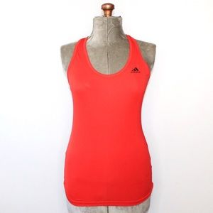 Adidas Red Ribbed Racerback Tank Top Small